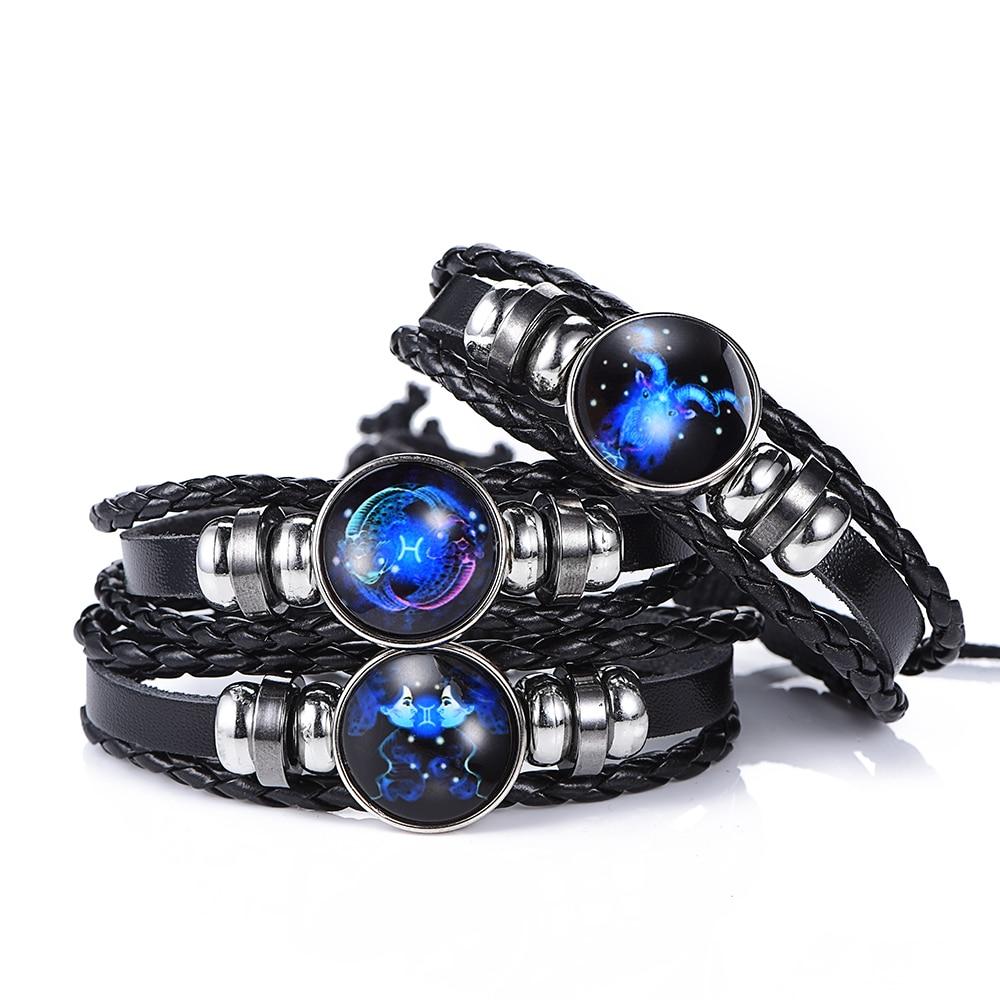 12 Constellation Luminous Bracelet men Leather Bracelet Charms Bracelets Aries Pisces Aquarius Leo Scorpio Libra Gemini jewelry