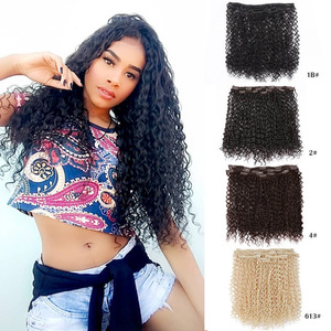22 Inches Long Kinky Curly Clip In Synthetic Hair Extensions Black Brown Blonde Color 7 Pcs/Set 16 Clips On Hair 140G For Women