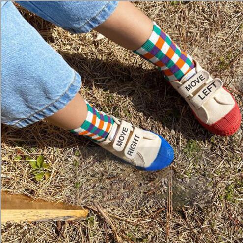 1-8 Year Autumn Boys and Girls Socks Rainbow Plaid Kids Socks 6