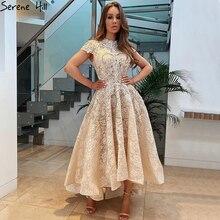 สูงคอหรูหราไม่สมมาตร Dresses 2019 แขนสั้นลูกไม้ประดับด้วยลูกปัดพรหม Gowns Serene Hill DLA70227