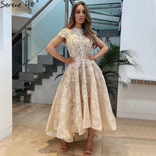 Gold High Neck Luxury Asymmetrical Prom Dresses 2019 Short Sleeve Lace Beading Prom Gowns Serene Hill DLA70227