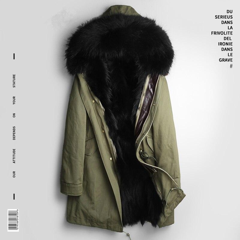 Winter Real Fur Coat Men Clothes 2020 Streetwear Thick Warm Raccoon Fur Liner Long Jacket Hooded Fashions Casaco PKF1111