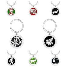 Dog pet dachshund Christmas snowflake horse flag Key Chain locket essential oil Perfume Diffuser Locket with Split Key ring 5Pads as gift fit pet collar key chain(China)
