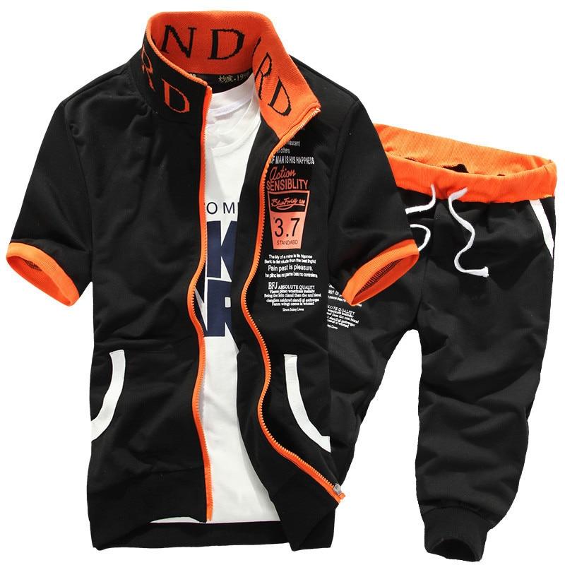 2020 Summer Sportswear Men Shorts Set Short Sleeve Sweatshirt+Pants Sporting Suit Sweatsuit Tracksuits Mens Set