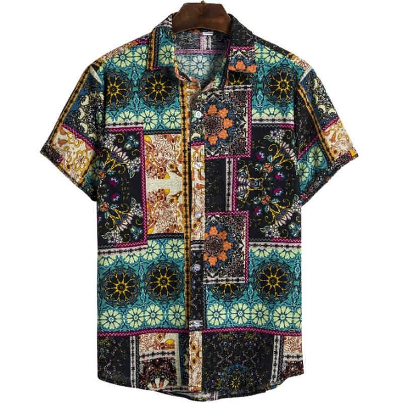 アロハシャツリネンシャツ男性塊胸ボタン半袖ラウンド裾カジュアルルースネクタイヘンリー男性シャツ夏トップス