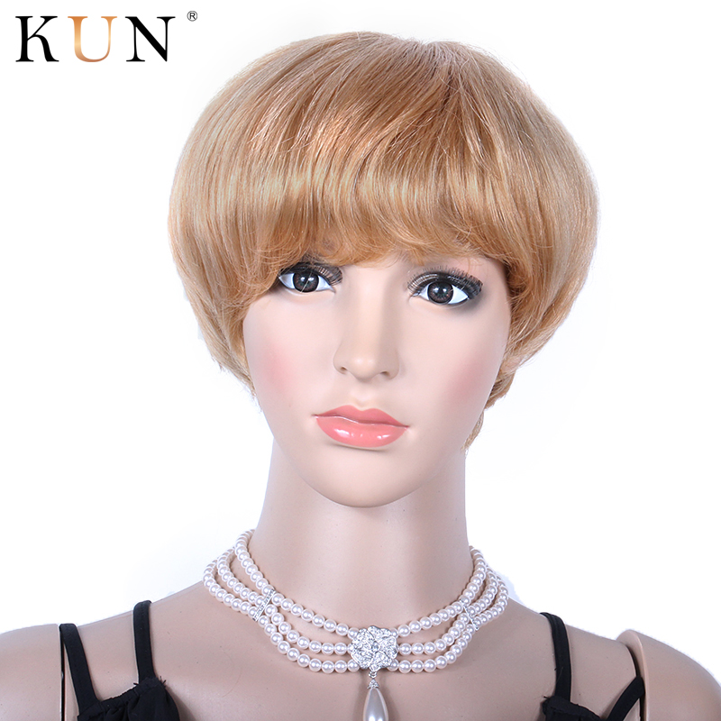 Pixie Cut Short Human Hair Wigs #27A Strawberry Blonde Lace Front Wig Pre Plucked Short Bob Cut Wigs Remy Wig For Women