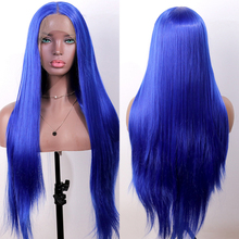 OLEY Loose Wave Synthetic Lace Front Wig Blue Wig Long Straight Braided Heat Braided