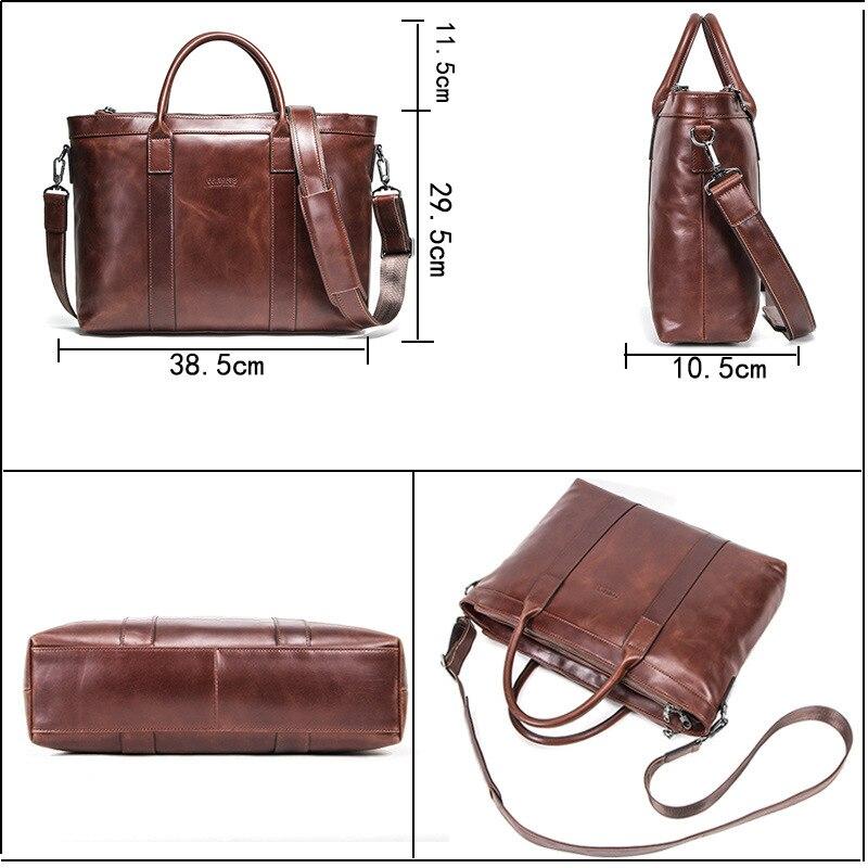 Bolso de cuero Casual para hombres, Maletín de negocios, bolsos para hombres, bolso para ordenador de 14 pulgadas, bolso para ordenador portátil de cuero genuino marrón, bolso de viaje - 5
