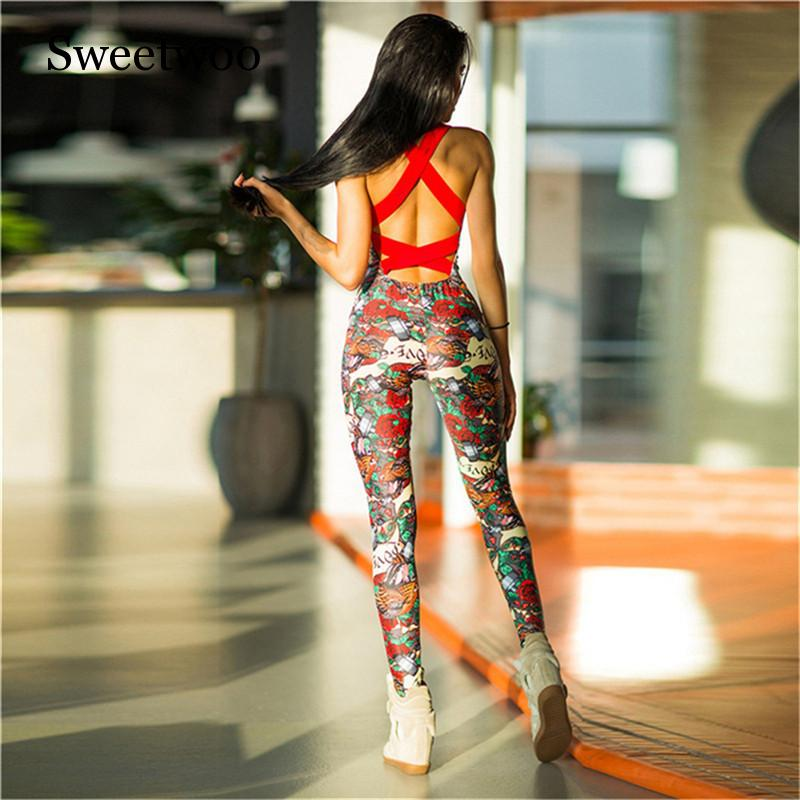 Fitness Sport Suit Women Tracksuit Yoga Set Backless Gym Running Set Sportswear Leggings Tight Jumpsuits Workout Sports Clothing in Yoga Sets from Sports Entertainment