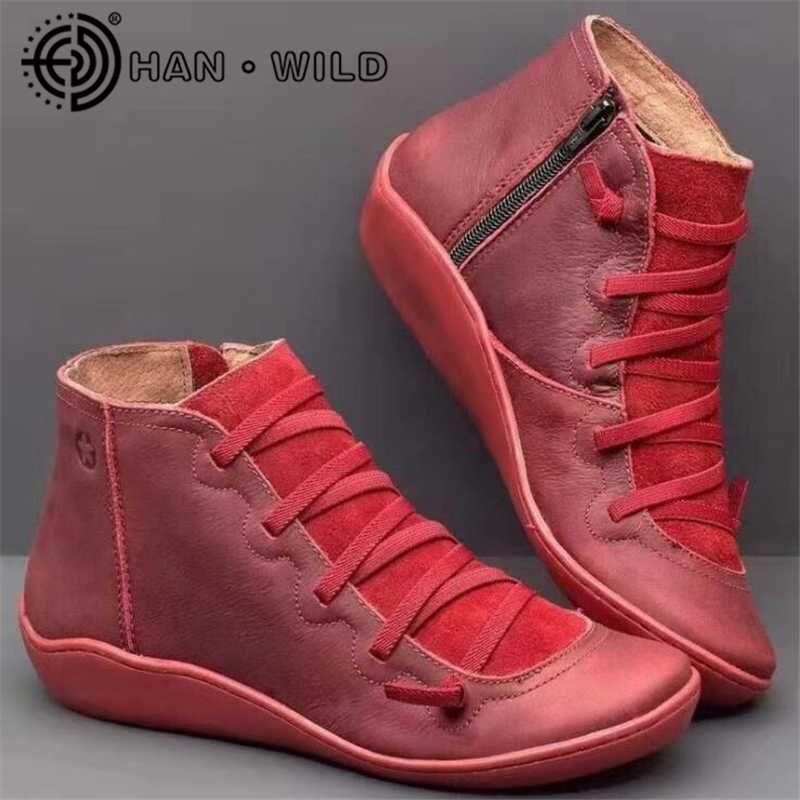 2020 kadın Socofy deri yarım çizmeler bayan rahat kayma patik sonbahar kış bayanlar düz ayakkabı artı boyutu 43