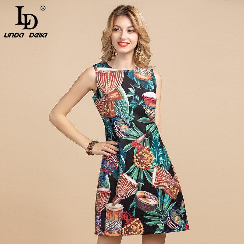LD LINDA DELLA créateur de mode robe d'été femmes sans manches rétro ethnique Jungle imprimé fleuri perles Vintage robes courtes
