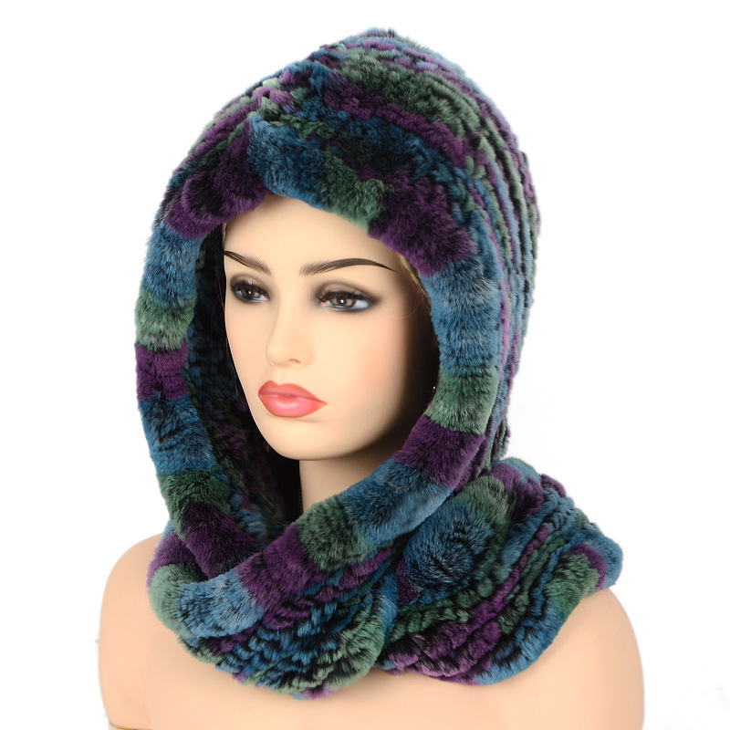 Chapeau à capuche écharpe 100% véritable Rex lapin tricoté