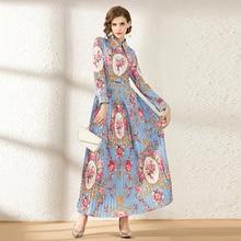 HAMALIEL женское Плиссированное праздничное Макси платье подиумное весеннее Цветочное платье с отложным воротником Модное Длинное Платье Vestidos