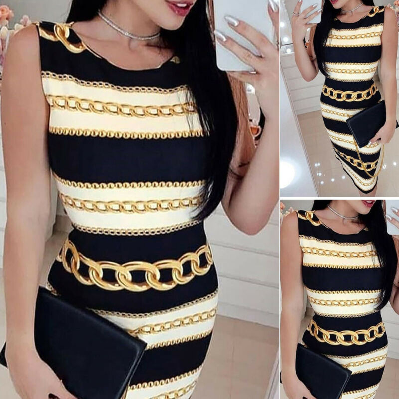 Goocheer New Style Womens Short Sleeve Bodycon Midi Dress Ladies Summer Striped Dress Plus Size Skirt in Dresses from Women 39 s Clothing