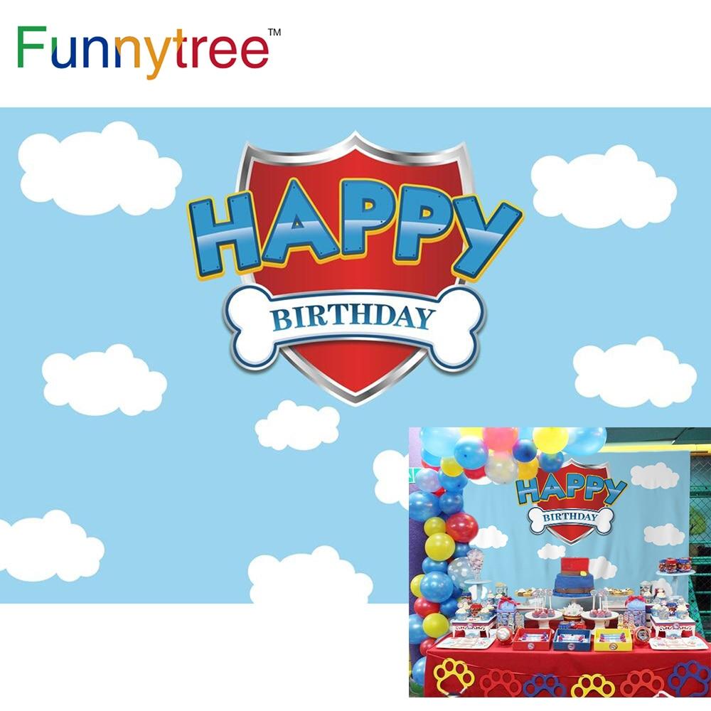 Funnytree любую индивидуальную тематику для душ для ванной комнаты собака фон голубого неба 1st на день рождения фотосессия фон вечерние фотозон...