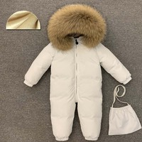 30 Degree Infant Snowsuit Real Fur Collar Duck Down Filling Thick Warm Toddler Boys Girls Down Rompers Baby Winter Jackets
