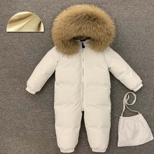 -30 Degree Infant Snowsuit Real Fur Collar Duck Down Filling Thick Warm Toddler Boys Girls Down Rompers Baby Winter Jackets