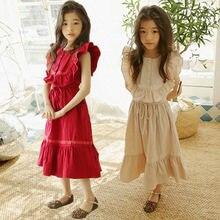 Хлопковое Макси платье с оборками для девочек подростков длинное