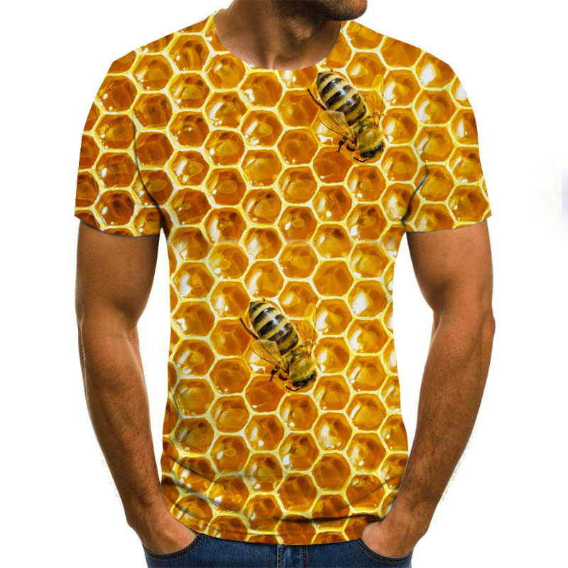 Summer New Men's T-shirt Ms. Bee 3D Sweatshirt 3D Print Personality Short Sleeve Hip Hop O-Neck Top