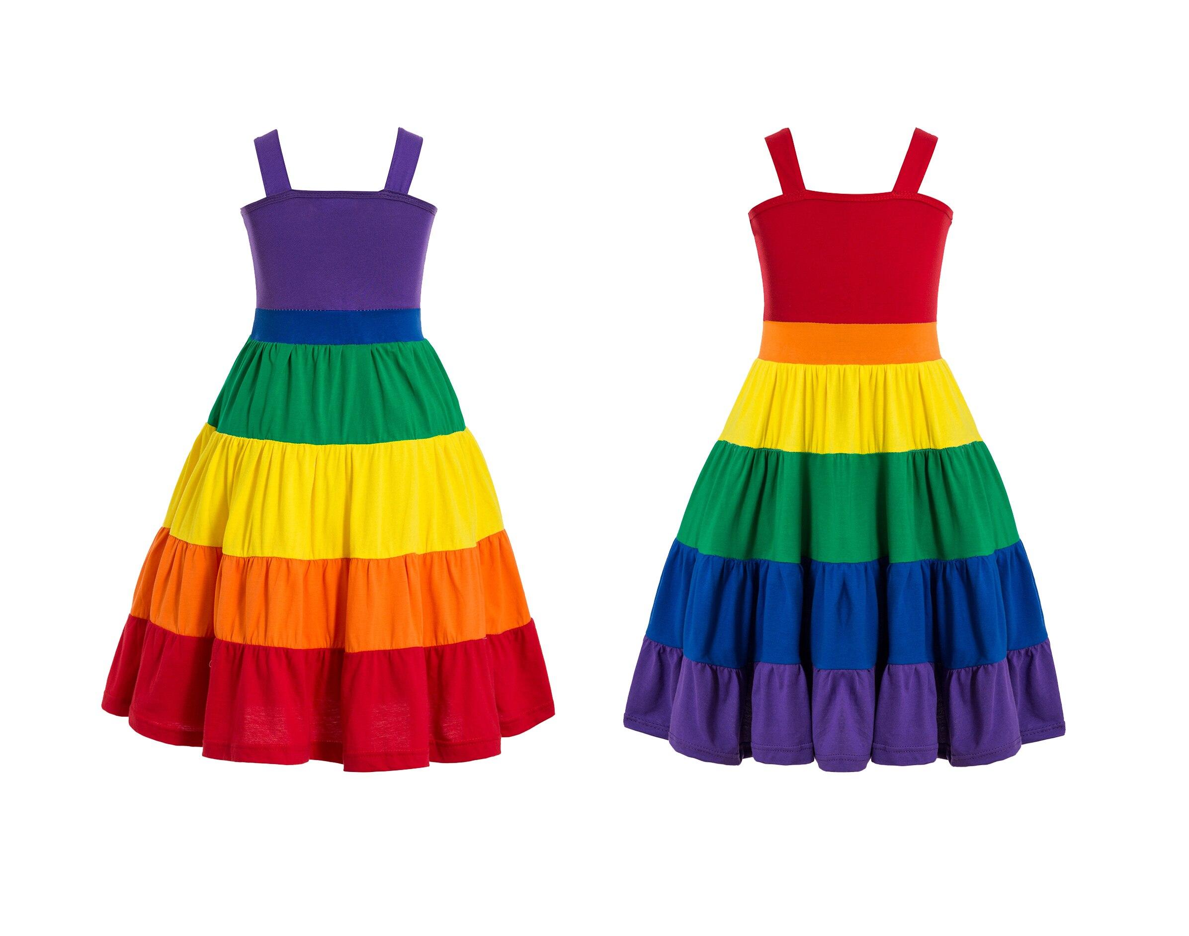 Rainbow Birthday Party Dress Jojo Siwa Tutu Dress Birthday Rainbow dress Girls rainbow twirl dress Party dress twirly dress 2