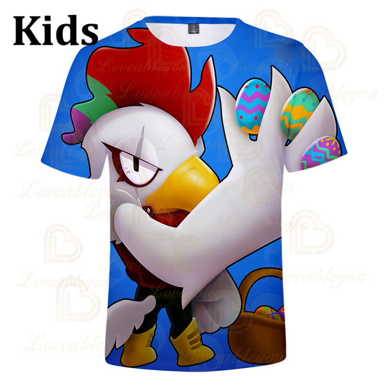Cute Crow Shoot Brawling Game 3D Print T-shirt Men Clothing Harajuku T Shirt Women Kids Star Leon Tops 2020 Shirt Boys Girls