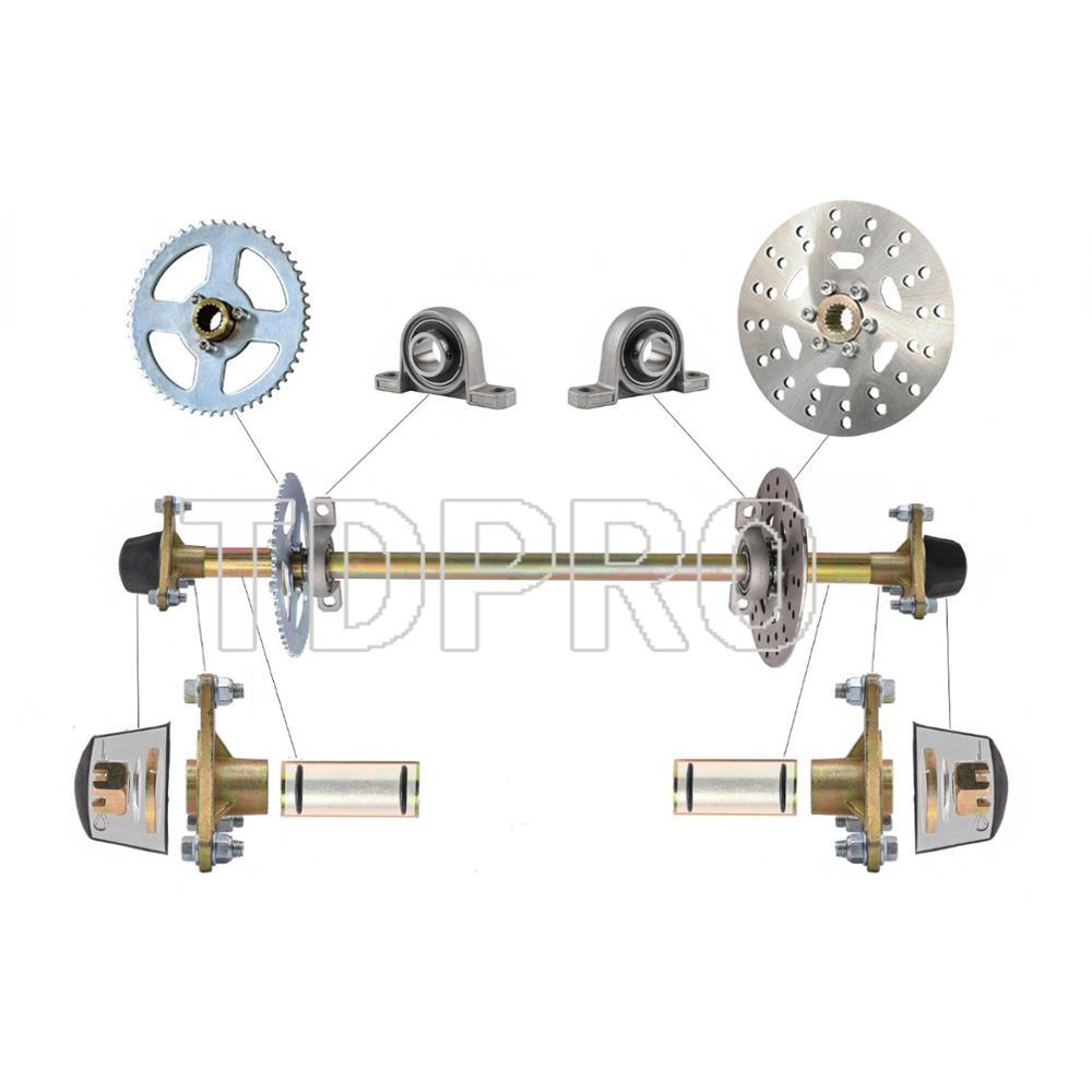 Go kart Cart Trike Rear Live Axle Kit Shaft Wheel Hub Brake Rotor Sprocket US