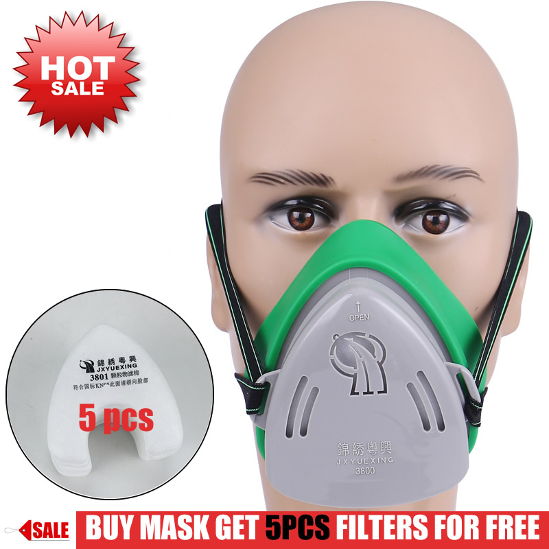 Professional Dust Mask Dust Proof Respirator Rubber Work Safety Mask For Builder Carpenter Daily Haze Protection