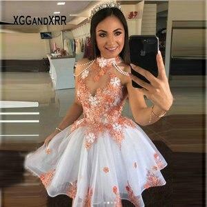 Новое короткое Пышное Платье с лямкой на шее 2020, милое платье с цветком и бусинами 15, торжественное платье маленькой принцессы на день рожде...
