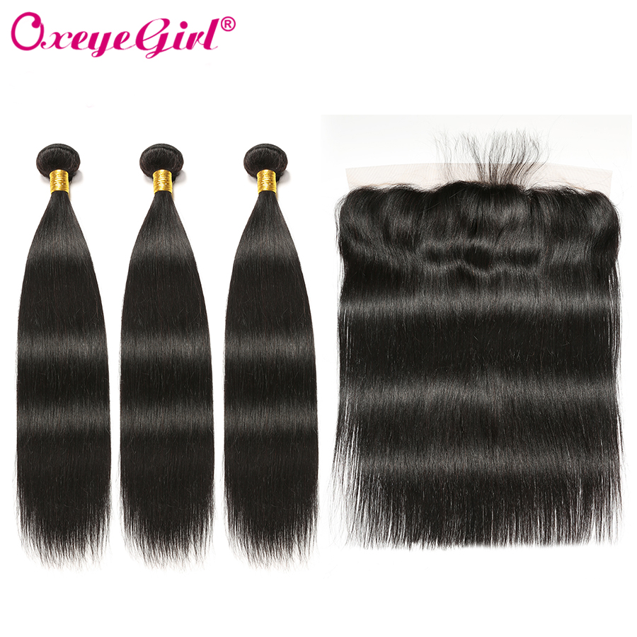 Straight Hair Bundles With Frontal Closure Brazilian Hair Weave Lace Frontal With Bundles Frontal And Bundles NonRemy Oxeye girl-in 3/4 Bundles with Closure from Hair Extensions & Wigs    1