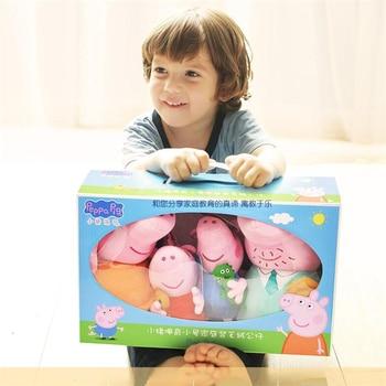 Original Peppa Pig A Family of 4 Set Cartoon Stuffed Plush Toys Dolls George Friend Family Party Children Birthday Xmas Gift недорого
