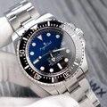 Роскошные брендовые новые мужские часы из нержавеющей стали автоматические механические черные синие сапфировые керамические Безель тяже...