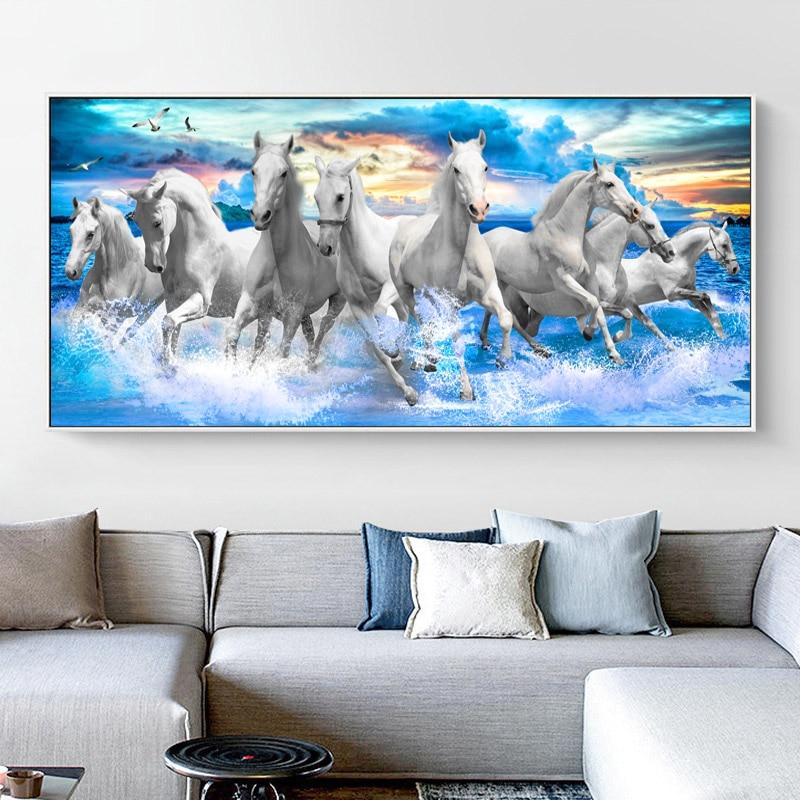 Самоотверженно восемь лошадей бег в море холст картины стены искусства фотографии животных для Гостиная Спальня Современное украшение для...