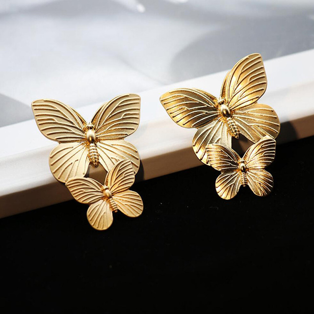 Gold Color Hollow Butterfly Earrings Elegant Big Metal Butterfly Women Stud Earrings Fashion Jewelry Accessories 2019.jpg 640x640 - Gold Color Hollow Butterfly Earrings Elegant Big Metal Butterfly  Women Stud Earrings Fashion Jewelry Accessories 2019 New