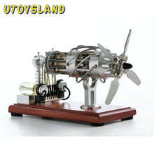 Hot Air Stirling Engine Motor Model 16 Cylinders Swash Plate Physics Educational Toys For Kids Scientific Gift Toys 2018 Silver