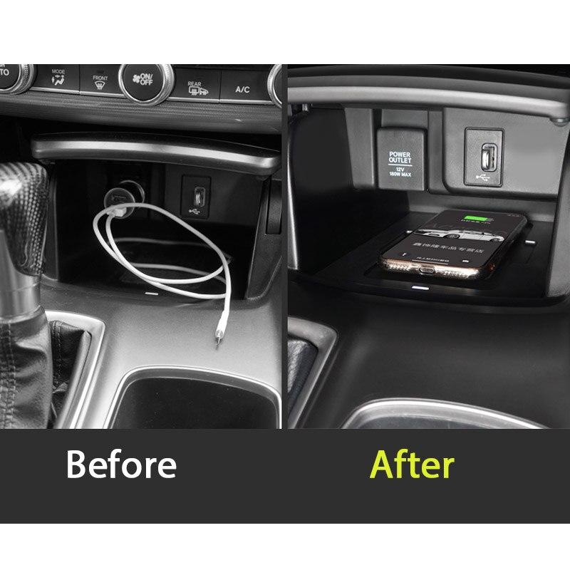 Pour honda accord 10th 2018 2019 voiture Mobile caché carte de charge rapide sans fil charge accoudoir Central boîte de rangement - 3