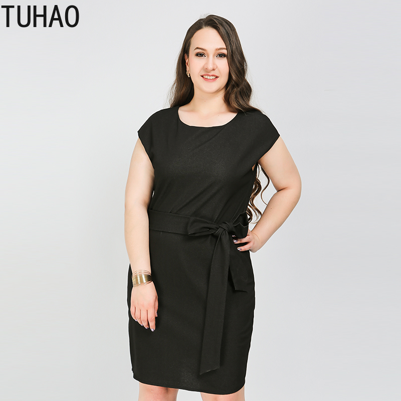 TUHAO <font><b>Plus</b></font> <font><b>Size</b></font> <font><b>8XL</b></font> 7XL 6XL <font><b>DRESS</b></font> 2019 Summer Elegant Black Office Lady <font><b>Dresses</b></font> Sheath Sashes Female <font><b>Dress</b></font> Women Vestidos LW117 image