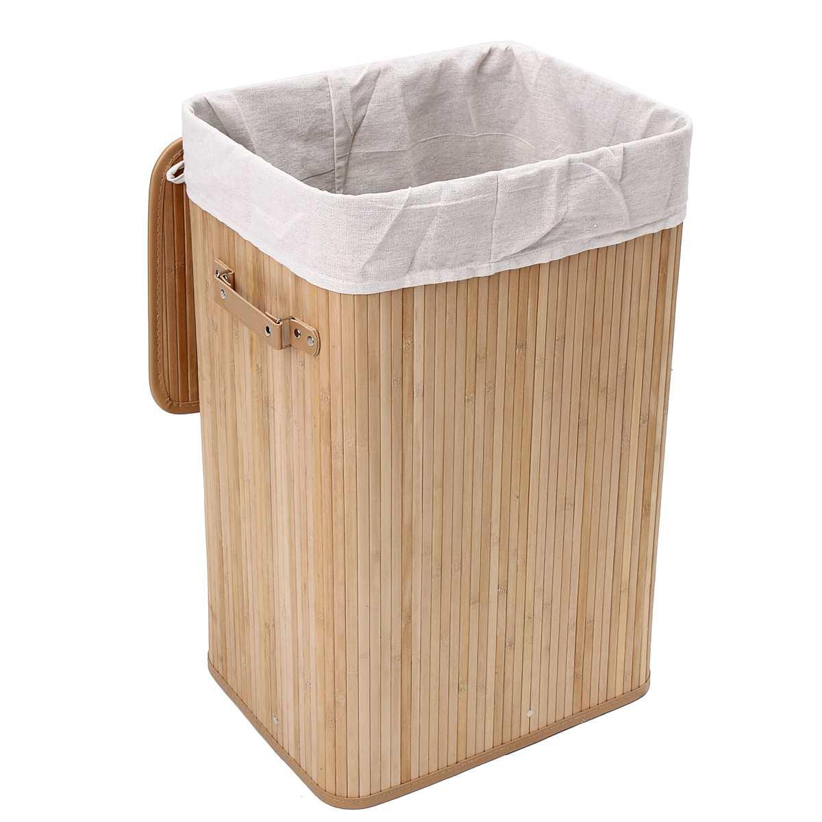 Bamboo Laundry Hamper Basket Wicker Clothes Storage Bag Sorter Bin Organizer Lid Washing Cloth Bin Rangier Lid