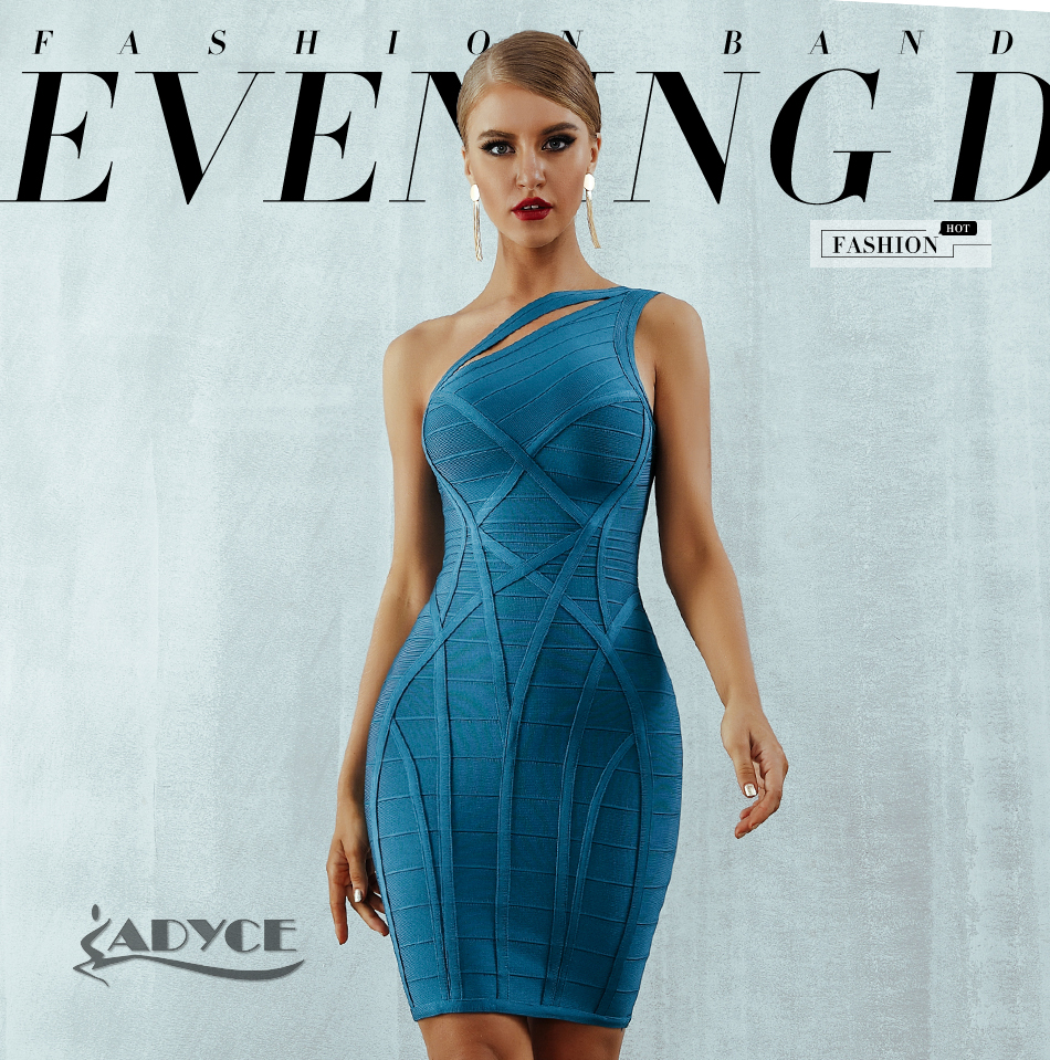 H3c841722967e4a3fa97eefcc500a1112I - Adyce 2020 New One Shoulder Summer Women Bodycon Bandage Dress Sexy Hollow Out Sleeveless Midi Celebrity Runway Party Club Dress