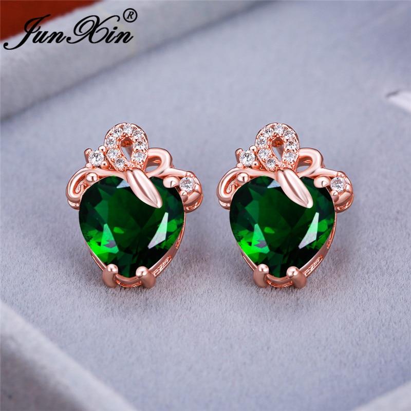 Vintage Female Crystal Love Heart Stud Earrings For Women Rose Gold Wedding Studs Yellow Zircon Green Stone Double Earrings Gift