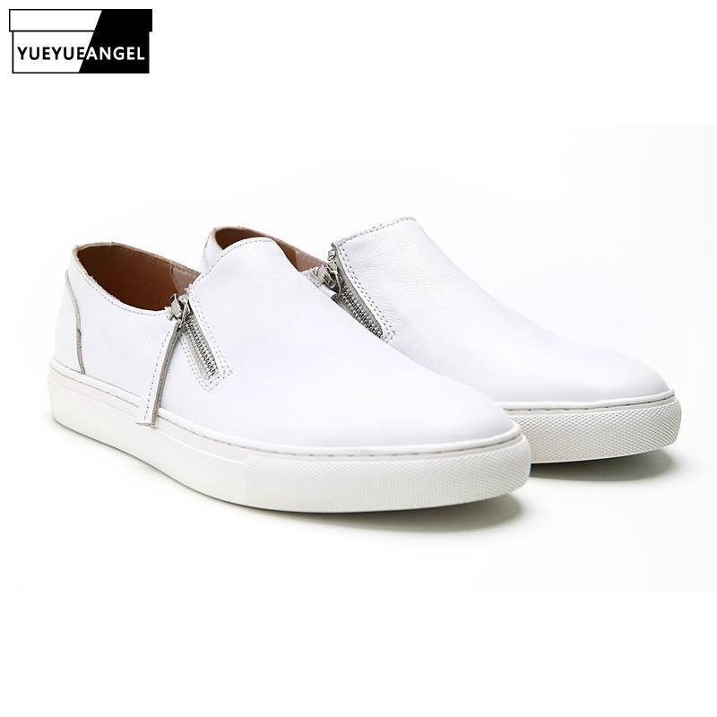 Korean Style Hot Sale Brand Mens Casual Shoes Genuine Leather Cow Side Zipper Fashion Male Breathable Loafers Handmade Big Size