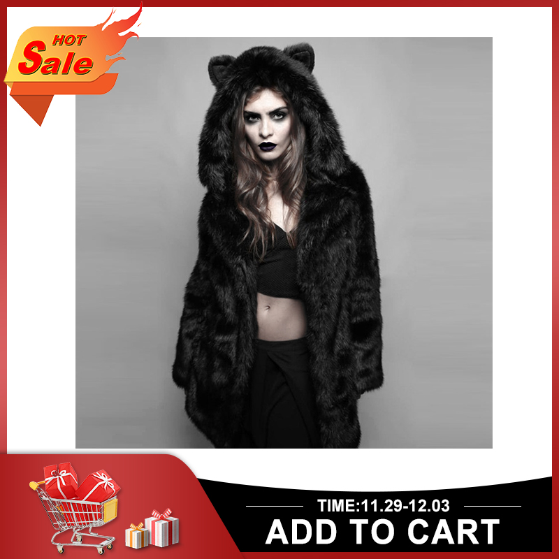 RoseticFaux Fur Jacket Women Winter Oversize Casual Loose Hooded Warm Coat Cat Ear Patchwork Mid Length Overcoat Hoody Outerwear