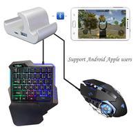 Kuulee sem fio bluetooth gaming teclado mouse conversor adaptador para android ios telefone tablet pubg regras de sobrevivência facas