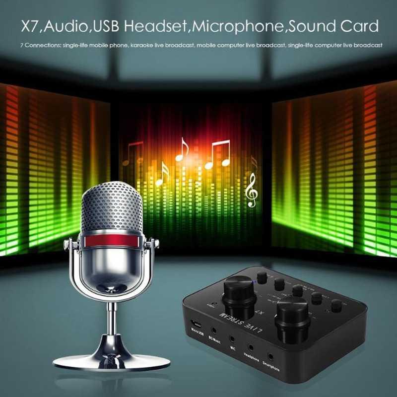 X7 Pc オーディオの Usb ヘッドセットサウンドカードマイクロ電話 Webcast エンターテイメントストリーマサウンドカードけいれんライブショー電話コンピュータ Pc