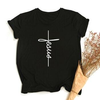 Summer Women Faith Tshirt Cross Jesus Tees Tops Christian Shirt Women Fashion Tshirt Baptism Church Bride Esthetic Shirts 1