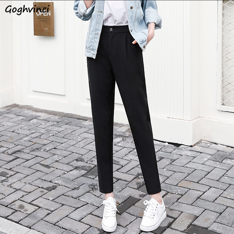 Pants Women Ankle-length Harem Trousers Solid All-match Loose High Waist Womens Casual Elegant Large Size Ladies Harajuku Daily