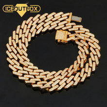 14mm Iced Out Miami Cuban Link Chain Hip Hop Fashion Men's Necklace Rhinestone Bling Gold Silver Jewlery 50/60/75/100cm Long(China)