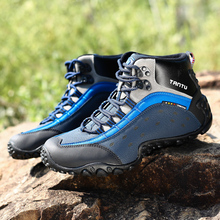 Men Hiking Shoes Genuine Leather Waterproof Mountain Camping Shoes Quality Outdoor Trekking Shoes Breathable Hunting Boots clorts hiking shoes men real leather outdoor shoes breathable trekking outventure shoes waterproof climbing camping boots hs826a