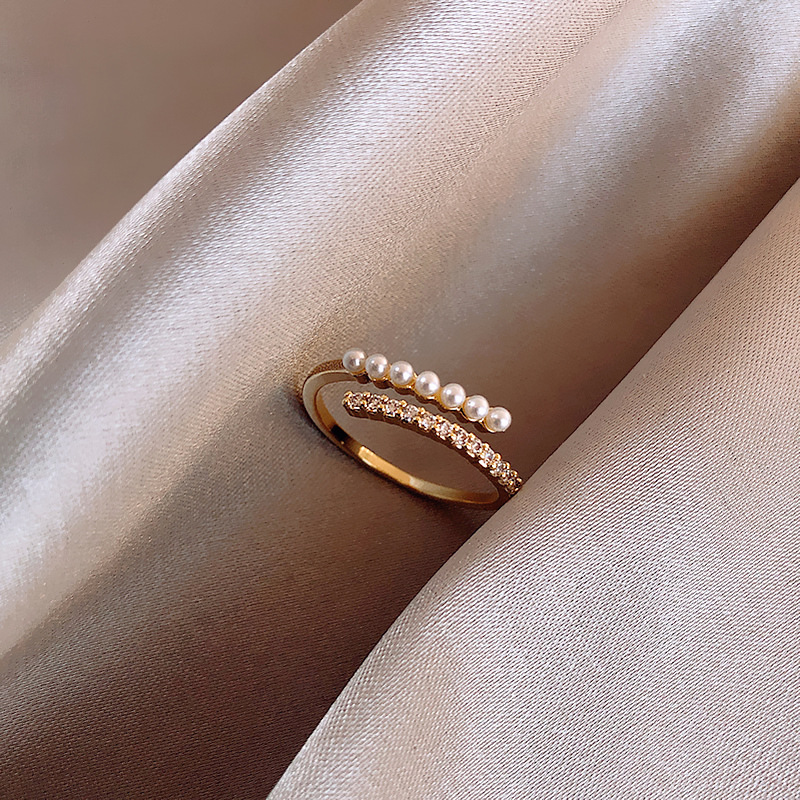 2020 Korean New Baroque Pearl Index Finger Ring Fashion Temperament Simple Versatile Ring Jewelry