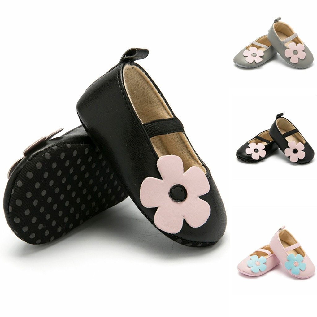 Toddler Baby Girl Shoes Elasticband PU Soft Leather Flower Princess Shoes Infant Baby Anti Slip Shoes  Baby First Walkers