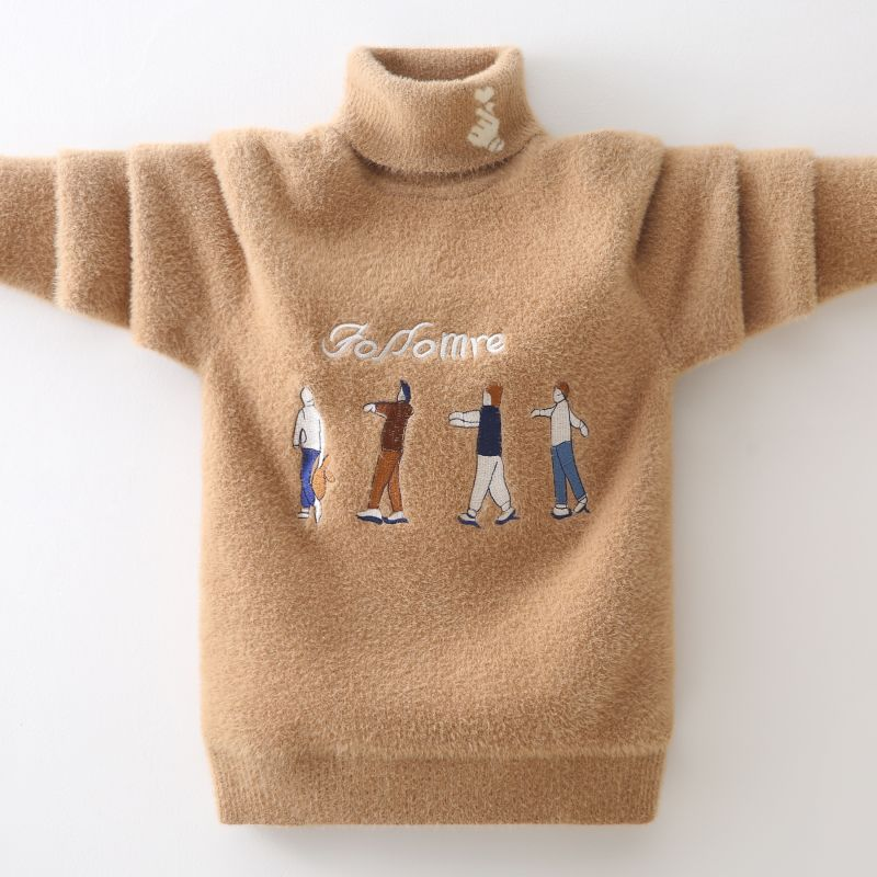 winter Boys Sweater Keep warm Cotton clothing children's Sweater Turtleneck pullover Sweater Kids clothes  Boys clothing 4
